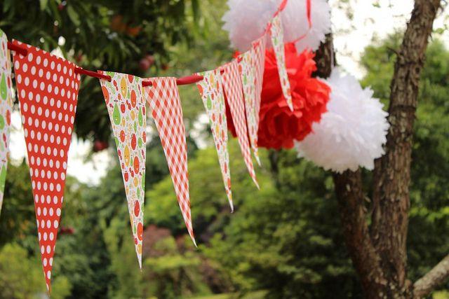 Bandeirolas e Pompoms na cor da festa!!! Um charme!!!  056 by PraGenteMiúda, via Flickr