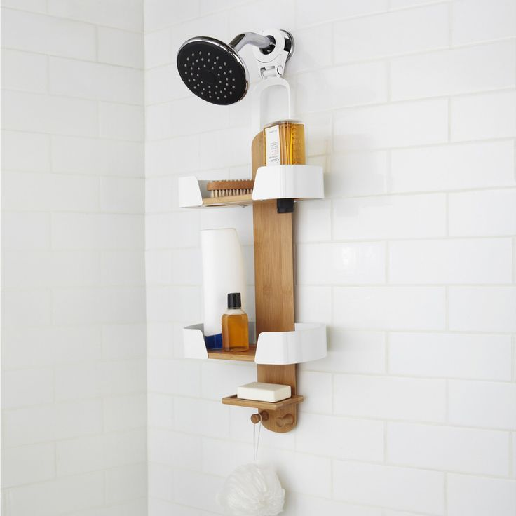 Modern Bamboo And White Shower Caddy. Umbra Decker Shower Caddy   Design By  Anthony Keeler