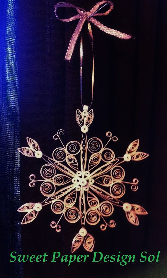 Beautiful Paper Quilled Christmas Snowflake Ornament