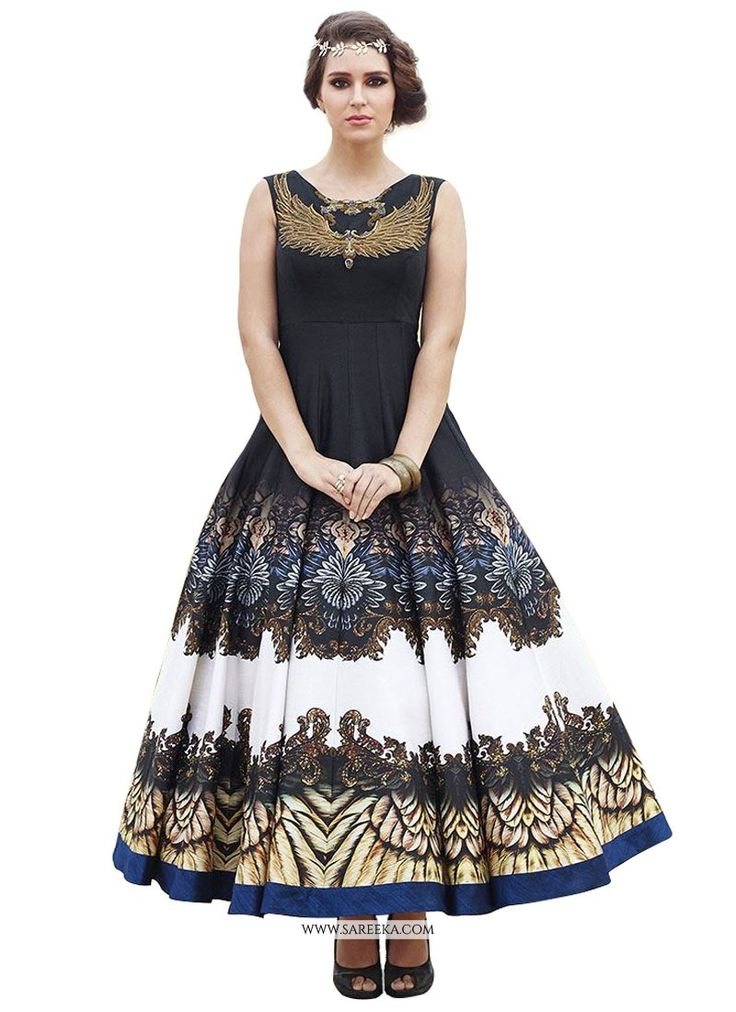 Attract compliments by this black raw silk anarkali salwar kameez. This ravishing attire is amazingly embroidered with digital print and embroidered work. Comes with matching bottom and dupatta. (Slig...