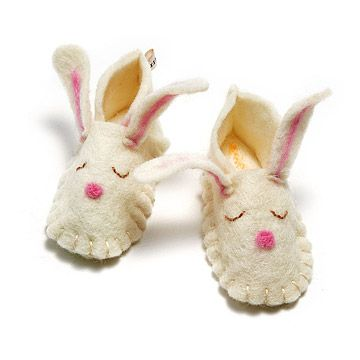 Look what I found at UncommonGoods: Bunny Felt Baby Slippers for $32 #uncommongoods