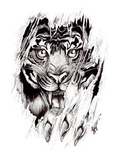 dibujo tigre saliendo por el brazo - Buscar con Google