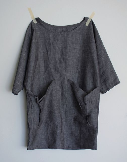 bat wing dress:  loose dress + bat wing sleeves + scooped neck + draped pockets + slightly tapered hem + grey / black chambray cotton deadstock over-dyed navy