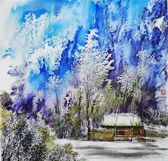 Зимний пейзаж Художник Bai Haoran