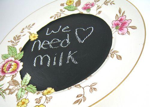 chalkboard paint on center of vintage plate.: Chalkboards, Grocery List