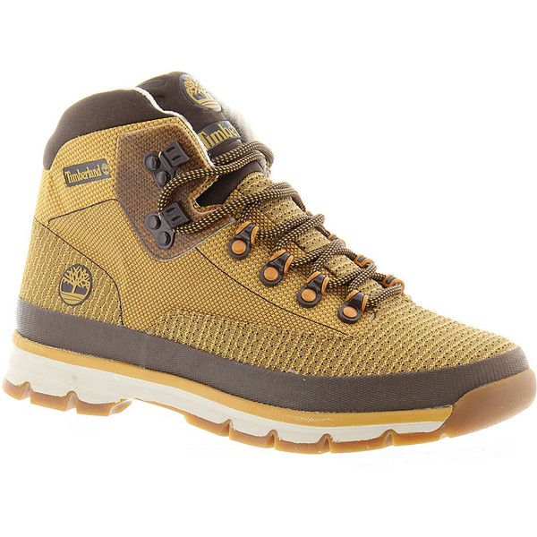 Timberland Euro Hiker Mid Jacquard Men's Tan Boot 9 M featuring polyvore, men's fashion, men's shoes, men's boots, tan, timberland mens shoes, mens tan boots, mens tan shoes, mens lace up boots and mens lace up shoes