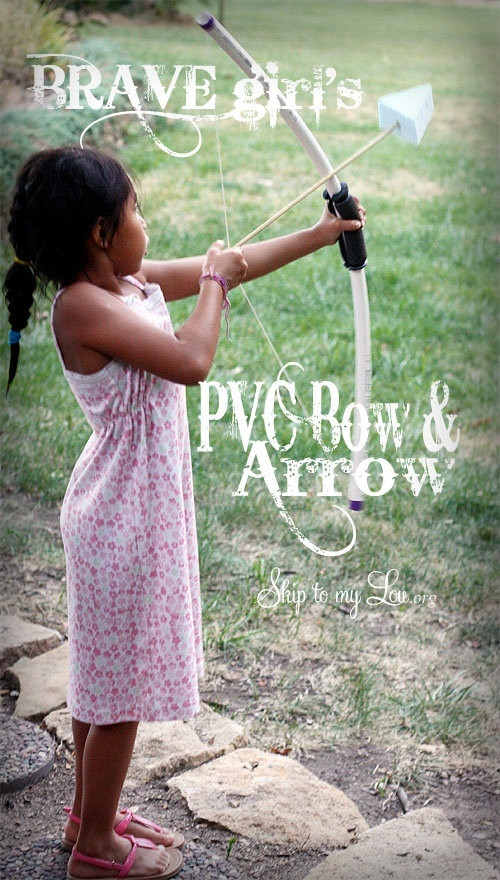 How to make a bow and arrow out of a PVC pipe. http://www.skiptomylou.org/2012/07/24/diy-pvc-bow-and-arrow/