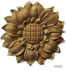 """Rosette  Circle  Sunflower- 3 5/16"""" Diameter 1/4"""" Relief by Decorators Supply, Chicago"""