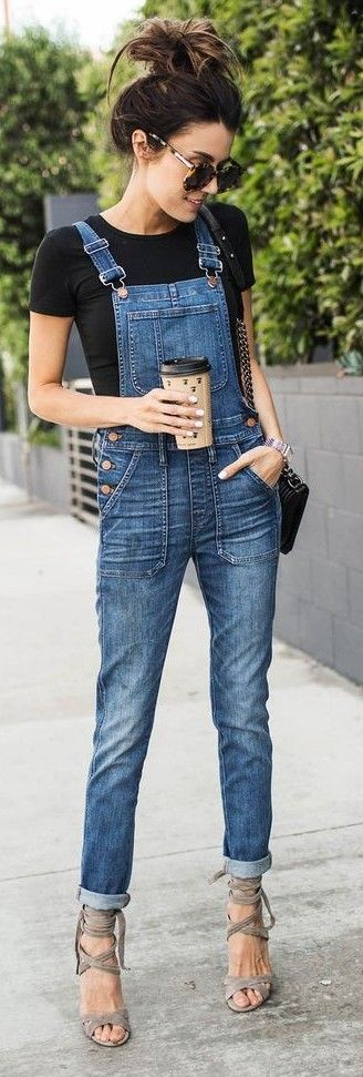 Black Tee, Denim Overalls, Taupe Strappy Sandals | hello Fashion                                                                             Source