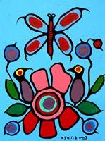 Butterfly and Flowers - Norval Morrisseau #CopperThunderbird...Shaman of The Ojibway