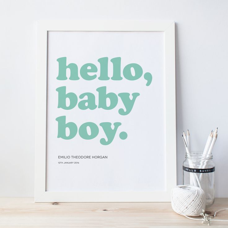 PAPERPAPER | hello baby boy personalised print #print #art #new #baby #boy #nursery #typography #typographic #paperpaper