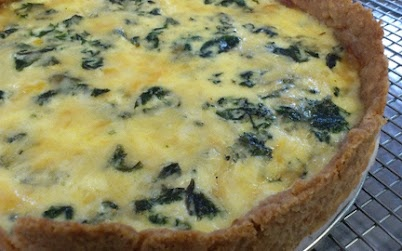 Onion Pepper Chard Quiche - with our heritage chicken eggs