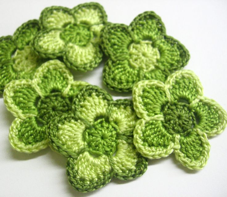 Crochet cotton flower appliques in green shades @Af's 21/3/13