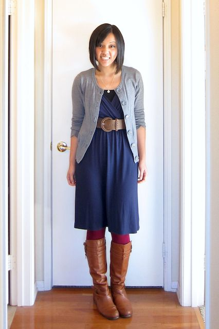 17 Best images about What to wear with a navy dress on Pinterest | Cognac boots Boots and Belt