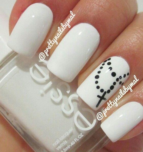 Rosary Nail Art ~ White polish for base, Black polish and Dotting tool for Nail Art
