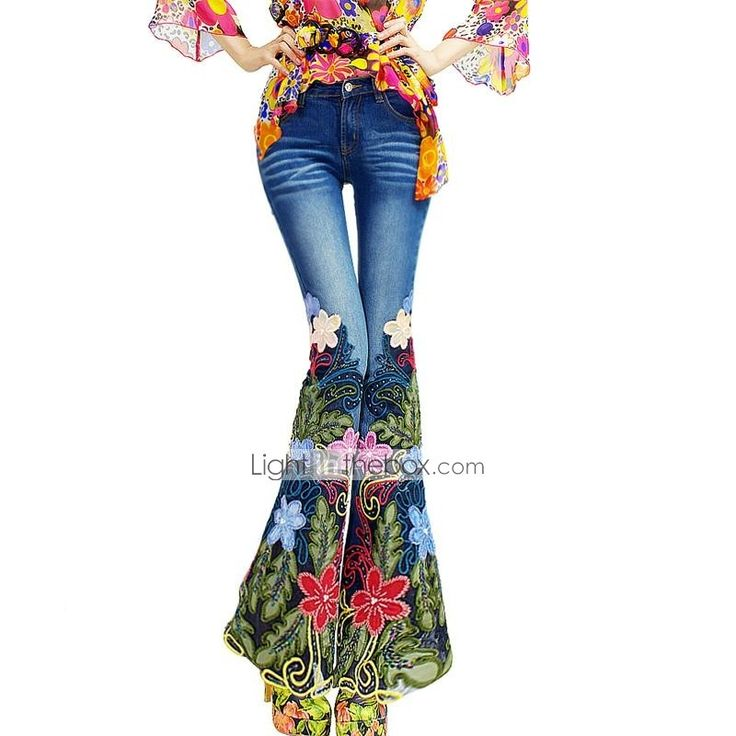 mj®: estilo bohemia novo luxo 2014 outono prego bordados talão micro calça jeans bootleg das mulheres broto de seda - BRL R$ 638,85