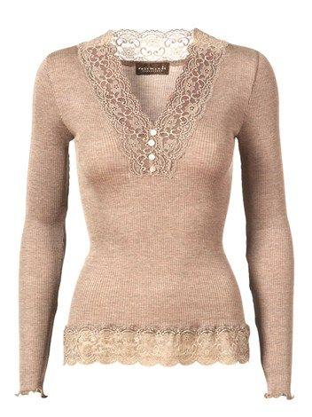 Rosemunde, Silk T-shirt w/Buttons and Feminine Lace Reg. Length L/S, Vintage Powder