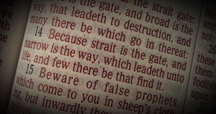 Mathew 7:14 Because strait is the gate, and narrow is the way, which leadeth unto life, and few there be that find it.