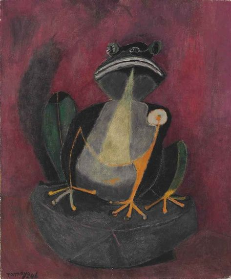 Rufino Tamayo, 1899-1991. THE FROG, 1946, oil and sand on canvas, 60.32 X 50.8 cm