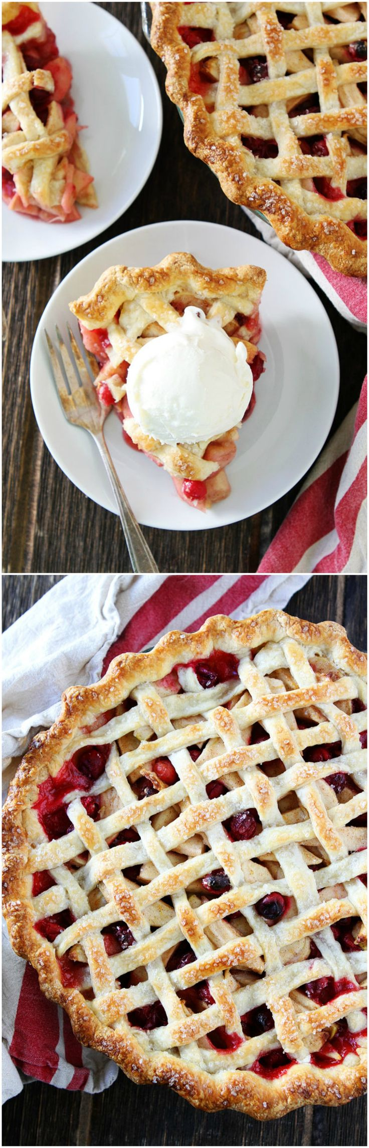 Apple Cranberry Pie Recipe on twopeasandtheirpo... Flaky, buttery pie crust filled with apples and fresh cranberries. This is the perfect holiday dessert!