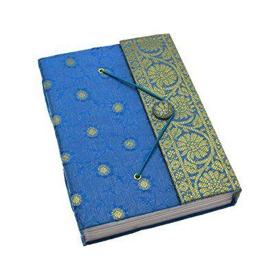Fair Trade Quaderno ricoperto in tessuto sari 140 x 185mm grande blu