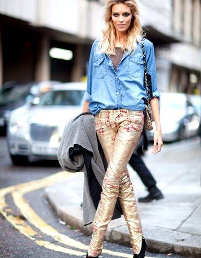 Anja Rubik, metallic, how to wear metallic, metaliczne, srebrne, metaliczne spodnie, streetstyle, streetfashion
