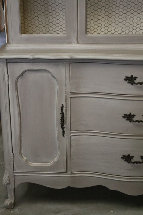 French Provincial Hutch with Chicken Wire: Coco and Old Ochre Chalk Paint ®