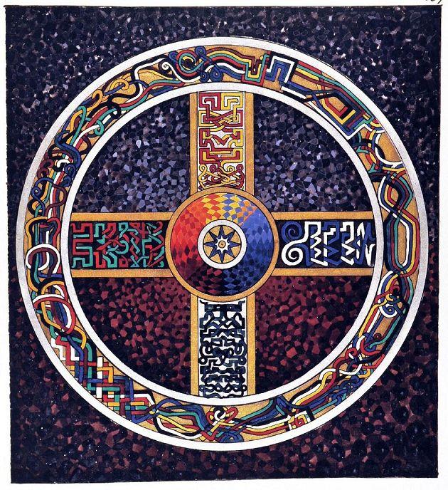 """""""Celtic Cross"""", pintura de Carl Gustav Jung em """"O Livro Vermelho"""" (Liber Novus). Veja mais em: http://semioticas1.blogspot.com.br/2012/12/freud-explica.html"""