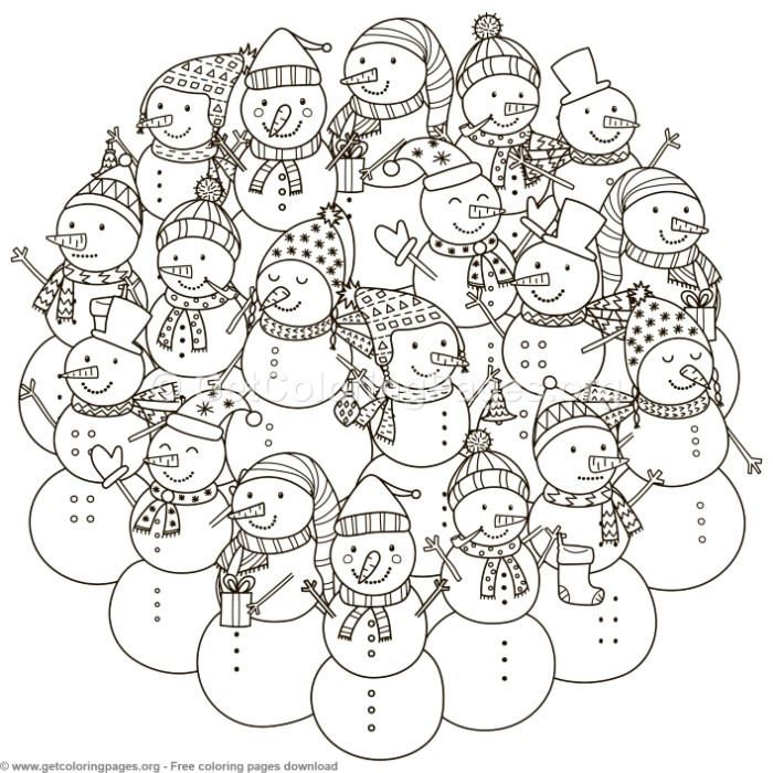 Circle Shape Snowman Pattern Coloring Pages