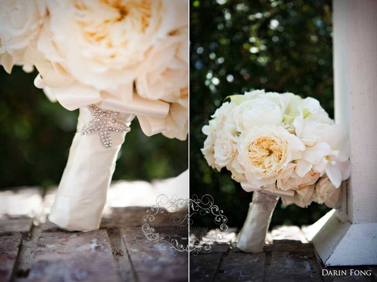 Seaside Inspired White Bridal Bouquet With David Austin Vintage Roses
