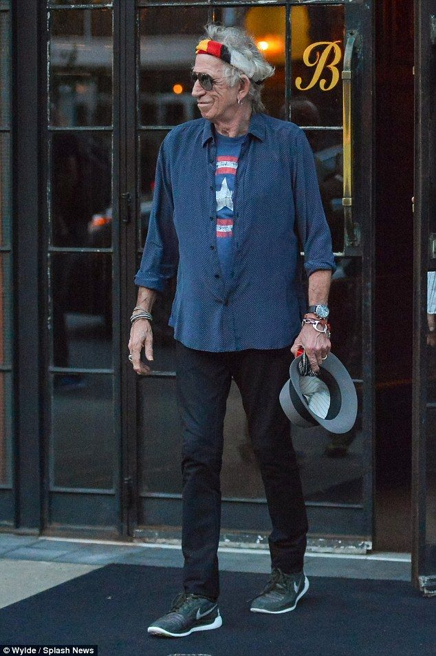 Daddy cool! Keith Richards was seen leaving his hotel in a more relaxed style earlier in t...