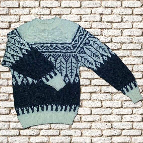 Blue & White Knitted Sweater by BessieMidge on Etsy, £20.00