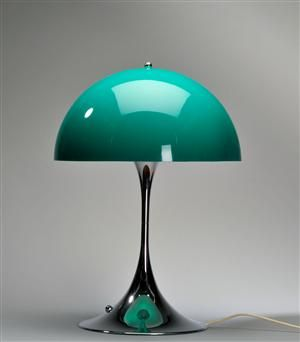 Lamp Panthella designed by Verner Panton (Louis Poulsen) in a great turquoise color.