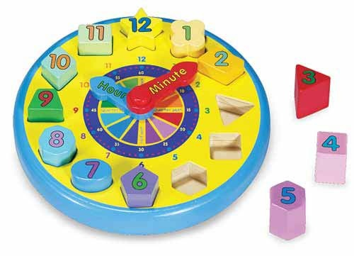 Hello Charlie - Melissa & Doug Shape Sorting Clock, $26.95. (http://www.hellocharlie.com.au/melissa-doug-wooden-shape-sorting-clock/). Ideal for early time concepts, recognising numbers and shapes, as well as sorting.