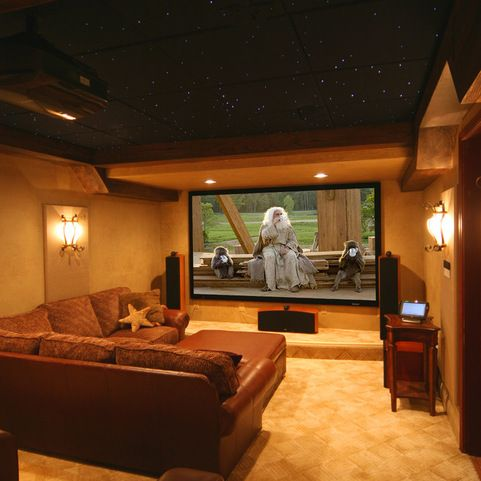 Basement Media Room Idea  Love The Dark Ceiling And Wall Sconces. Projector  Mounted In Ceiling, Or 72 Inch LED? Part 90