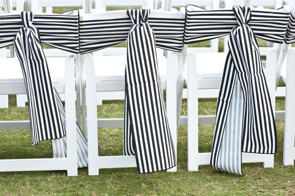 Nautical chair tiesChairs Sash, Ideas, Black And White, Chairs Decor, Black White, Wedding Reception, Wedding Chairs Covers, Stripes, Chairs Back