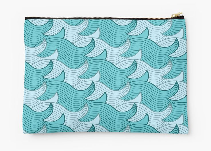 California Surf Wave Pattern Illustration by Gordon White | California Surf Large Studio Pouch Available @redbubble --------------------------- #redbubble #stickers #california #losangeles #la #surf #wave #cute #adorable #pattern #studiopouch #pouch #bag