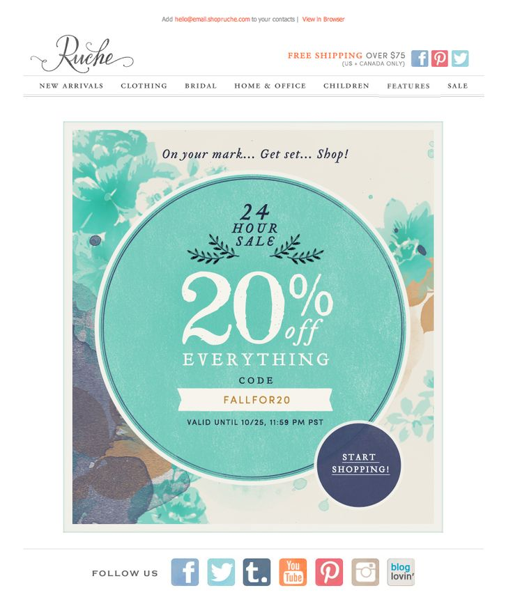 #newsletter Ruche 10.2013 subject:  20% off Everything