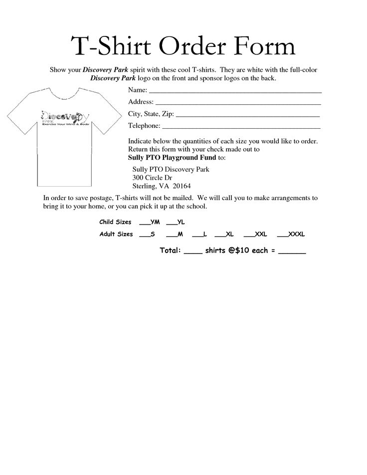 Shirt Order Forms Quotes