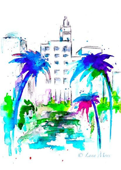 Art deco miami print from original watercolor painting for Art deco colours for painting