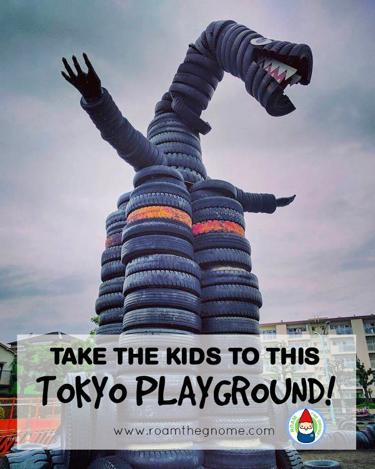 Travel with kids in Tokyo? Visit this cool Tyre playground in Tokyo- Nishi Rogoku park, Kamata. For more SUPER DOOPER FUN ideas for family-friendly weekend adventures and travel with kids, all over the world, visit our FAMILY TRAVEL DIRECTORY www.roamthegnome.com. Search by city. Rated by kids and our travelling Gnome.