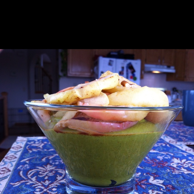 Green pumpkin pudding (spinach makes it green) topped with cinnamon apples and pecans.