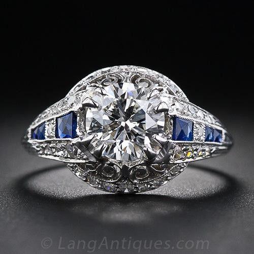 1.40 Carat Diamond and Sapphire Art Deco Ring in Platinum