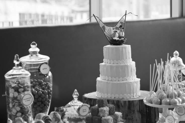 A rustic bird themed wedding candy and dessert table.    Photography by Melissa Thorburn