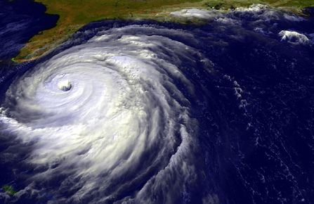 Satellite image of Hurricane Floyd approaching Florida coast.