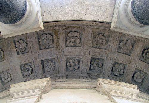 Bramante's Tempietto di San Pietro in Montorio, Rome, looking up at exterior coffers and rosettes