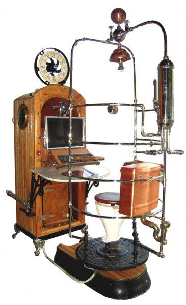 """What th...    A couple of designers had a great time with some antique plumbing and created this computer workstation (there's another rib cage shower). """"Bruce Rosenbaum and Walter Parker designed this #Steampunk Time Machine Antique Master Bathroom Computer Workstation using Victorian-era bathroom fixtures including a ribcage shower, toilet and pipes. The piece will take part in an exhibition on #gadgetry hosted by the Charles River Museum of Industry and Innovation in Waltham…"""