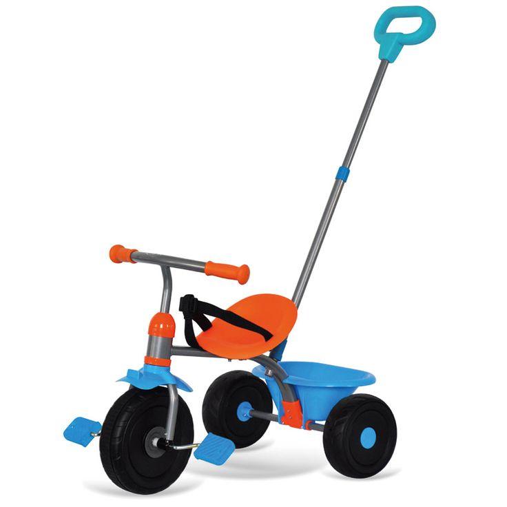 Le tricycle OOGY Bleu / Orange est idéal pour les enfants de 15 mois et plus. Il est doté d'une canne ajustable et de roues blocables (pour pousser le tricycle sans faire mal à bébé). Disponible aussi en Rose ou en rouge sur OOGarden.com