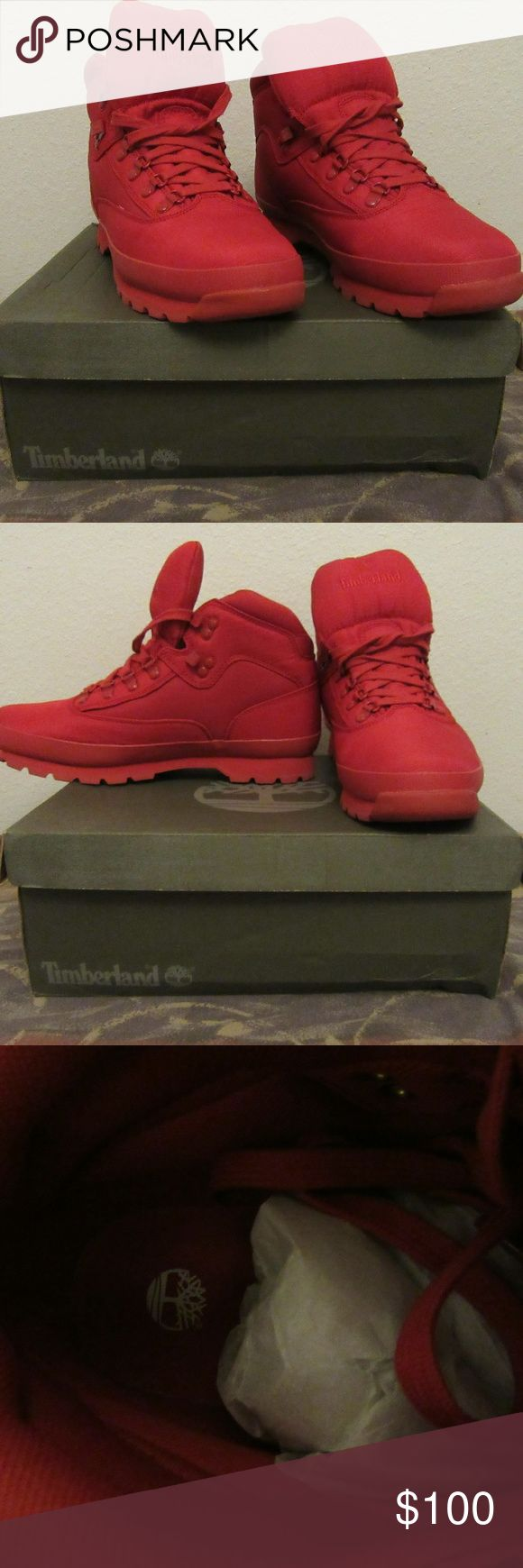 Timberland Euro Hiker Rip Boots Size 13 Mono Red excellent shape: literally been worn a couple times  Timberland Euro Hiker Rip Boots Size 13 Mono Red Release Model A1507 Timberland Shoes Boots
