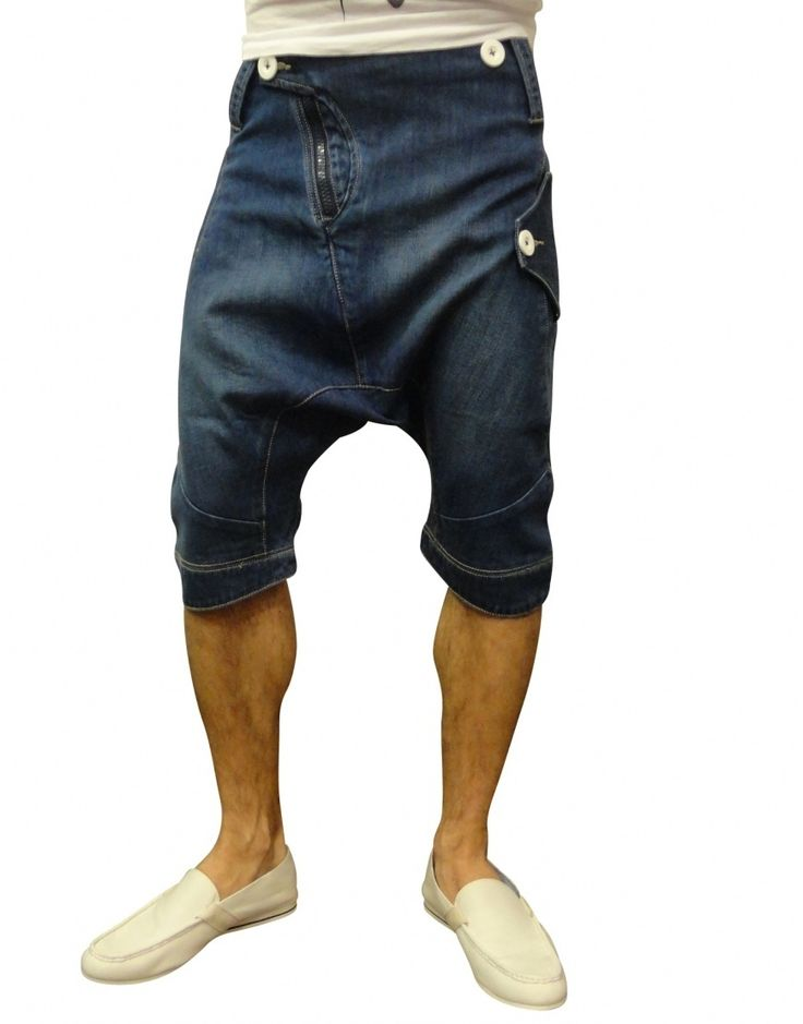 Drop crotch male trousers shorts ------------button detail and denim